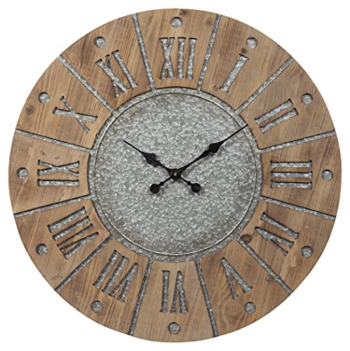 (Signature Design by Ashley A8010076 Payson Wall Clock Antique Gray/Natural)