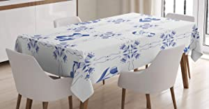 """Ambesonne Vintage Blue Tablecloth, Symbolic Dutch Culture Icons with Clogs Canal Houses and Tulips, Dining Room Kitchen Rectangular Table Cover, 60"""" X 90"""" Inches, Violet Blue"""