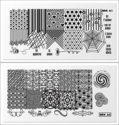 DRK Small plate set (10 plates: Designer 1, 2, 3 & 4; Cobogó 1 &2; A 1, 2, 3 &5)) (Drk Nail Stamping Plates)