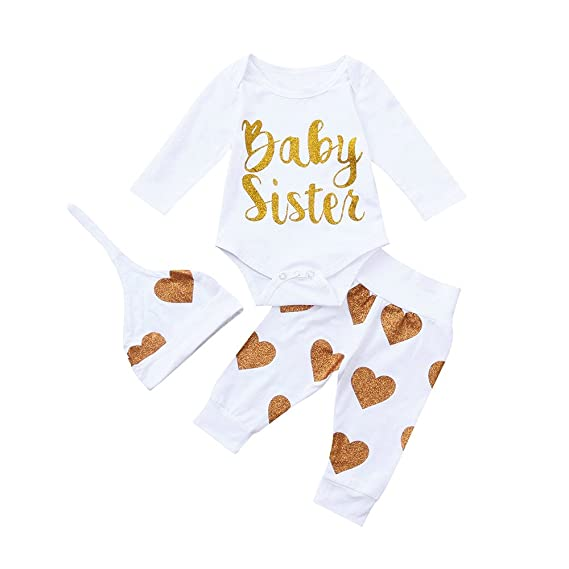 Ropa para bebés, Ropa para niños, (0-24M) Carta de Manga Larga de bebé Amor Imprimir Top Hare + Pants + Hat Set de Tres Piezas Baby Sister, 3PCS: Amazon.es: ...