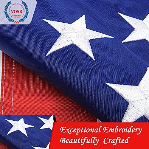 Jetlifee American Flag 4x6 Ft - by U.S. Veterans Owned Biz. Embroidered Stars, Sewn Stripes, Brass Grommets US Flag.Outdoors Indoors USA Flags Polyester 4 x 6 Foot ()