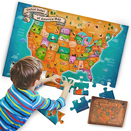 - aGreatLife USA Floor Map Puzzle - Prime Version - 50 States World Map Masterpieces- Extra Thick 51 Pieces Card Boards - Best for Early Learners in Geography
