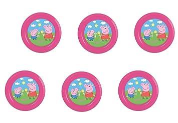 Peppa pig, 0284, Pack 6 Platos de plástico Reutilizables para Fiestas y cumpleaños (Peppa pig Platos)