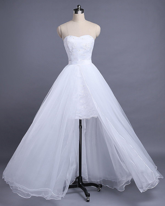 Tianshikeer Hochzeitskleider Kurz Zweiteilig T/üll Lang Herzausschnitt Brautkleider 2 Teilig