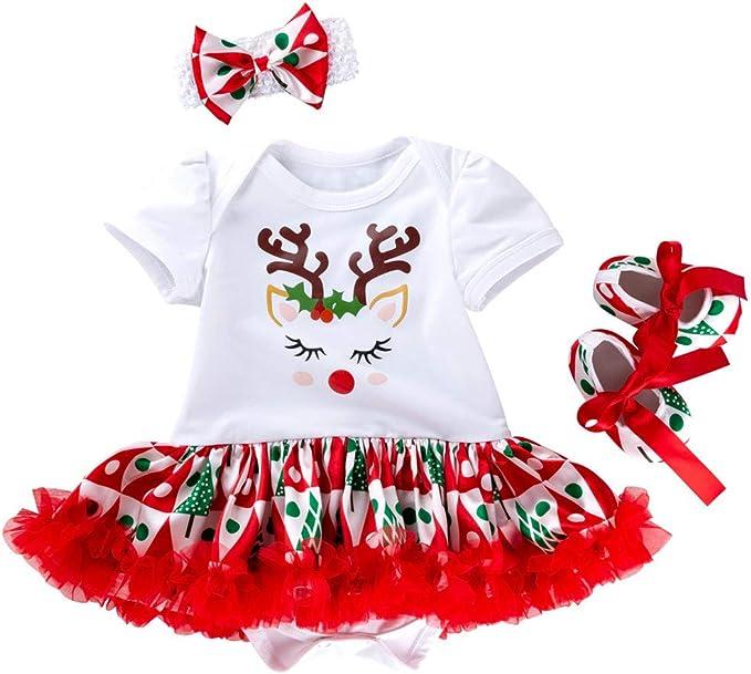 InueINND Disfraz Navidad Bebe Niña Conjunto De 3 Mono Camisetas ...