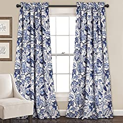 "Lush Decor 16T000561 Cynthia Jacobean Room Darkening Window Curtain Set, 84"" x 52"", Blue"