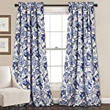 Cheap Lush Decor 16T000561 Cynthia Jacobean Room Darkening Window Curtain Set, 84″ x 52″, Blue