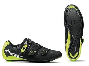 NORTHWAVE Phantom 2 SRS Zapatos de bicicleta de carretera Bicicletas NEGRO / AMARILLO FLUO, Tamaño:gr. 42: Amazon.es: Deportes y aire libre