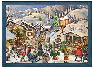 Victorian Winter Village in the Snow Hills German Christmas Advent Calendar