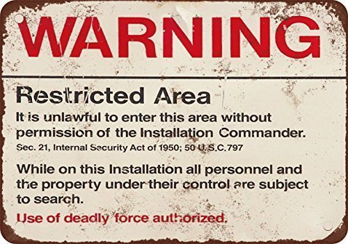 New Tin Sign Warning Restricted Military Area 51 Vintage Look Reproduction 8x12 Inch