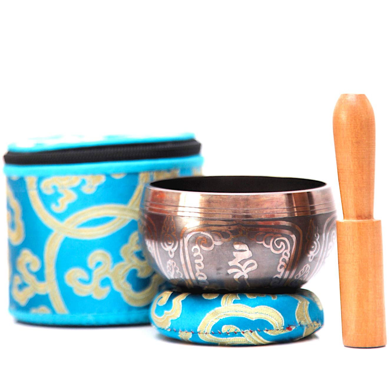 PANDA LIFESTYLE Tibetan Singing Bowl Set | Traditional Bronze Mantra Design with Cushion, Mallet, and Storage Box for Mediation, Yoga and Healthy ...