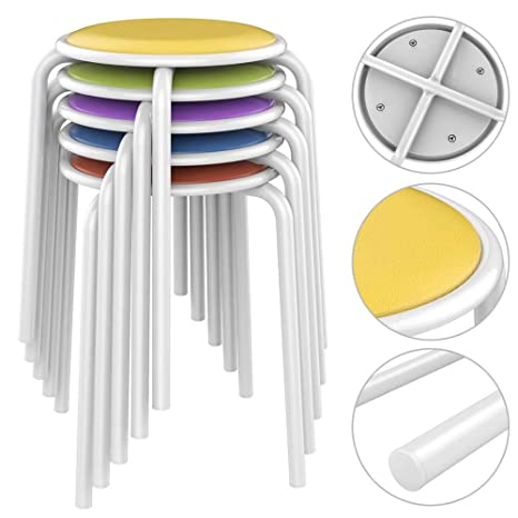 Amazon.com: Topeakmart - Taburetes de plástico para muebles ...