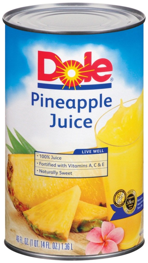Dole Pineapple Juice, 46-Ounce Cans (Pack of 12)