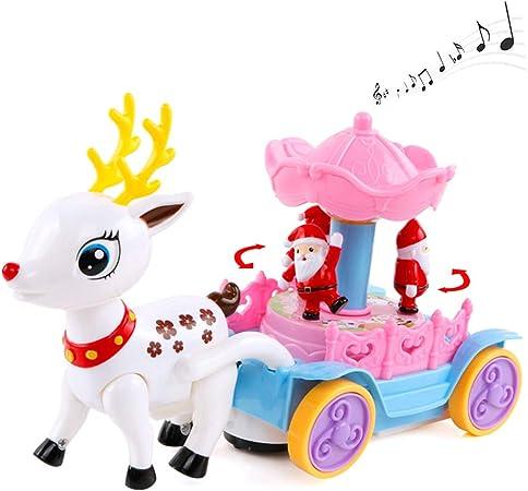 Reno Musical navideño de Navidad con Caja de música giratoria de Santa Claus Regalo de Juguete de Ciervo Auto montable para niños: Amazon.es: Hogar
