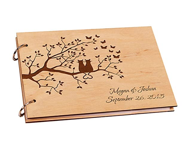 Amazon Engraved Trees Couple Cats Wedding Guest Book
