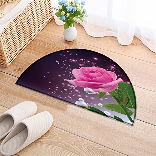 NALAHOMEQQ Half-round Rubber Back Coir Doormat Rose, bubbles and stars Living Room(31.5x19.7 INCH) (Rose Coir Mat)