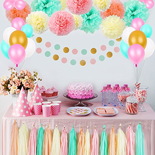 1st Birthday Party Decoration (Party Birthday Decorations, Pom Poms Flowers Kit , Paper Garland and Tassels for 1st Birthday Girl Decorations Kids Birthday Bridal Shower Baby Shower wedding by Litaus)