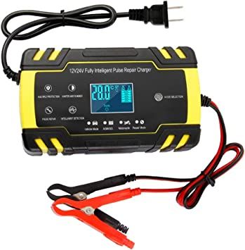 12V24V Smart Battery Charger | Pulse Repair Charger with LCD Display | Intelligent Mode Overvoltage Protection Temperature Monitoring for Car, Truck,