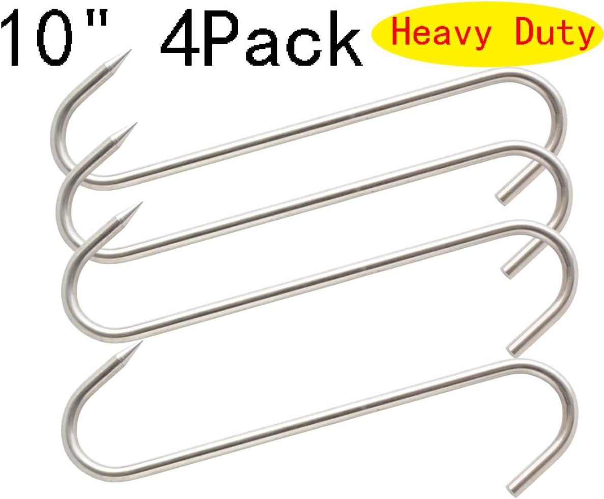 """W//3/"""" HOOK ENDS 2 EXTRA HEAVY DUTY STAINLESS STEEL MEAT S HOOKS 10/"""" X 8MM"""