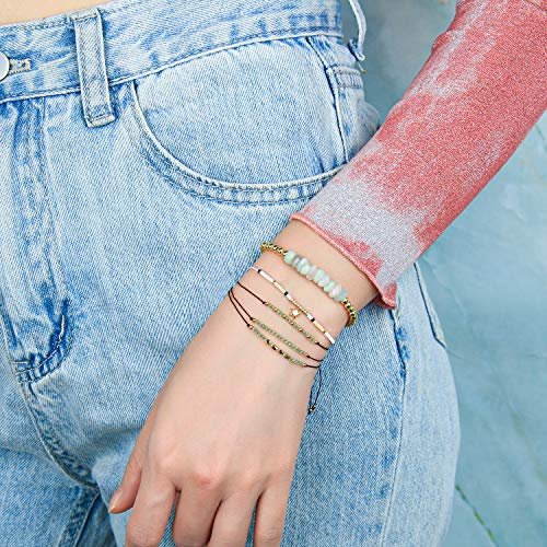 KELITCH Created Turquoise Beaded Bracelet Handmade Braided Stretch Bracelets Cuff Fashion Jewelry (White J)