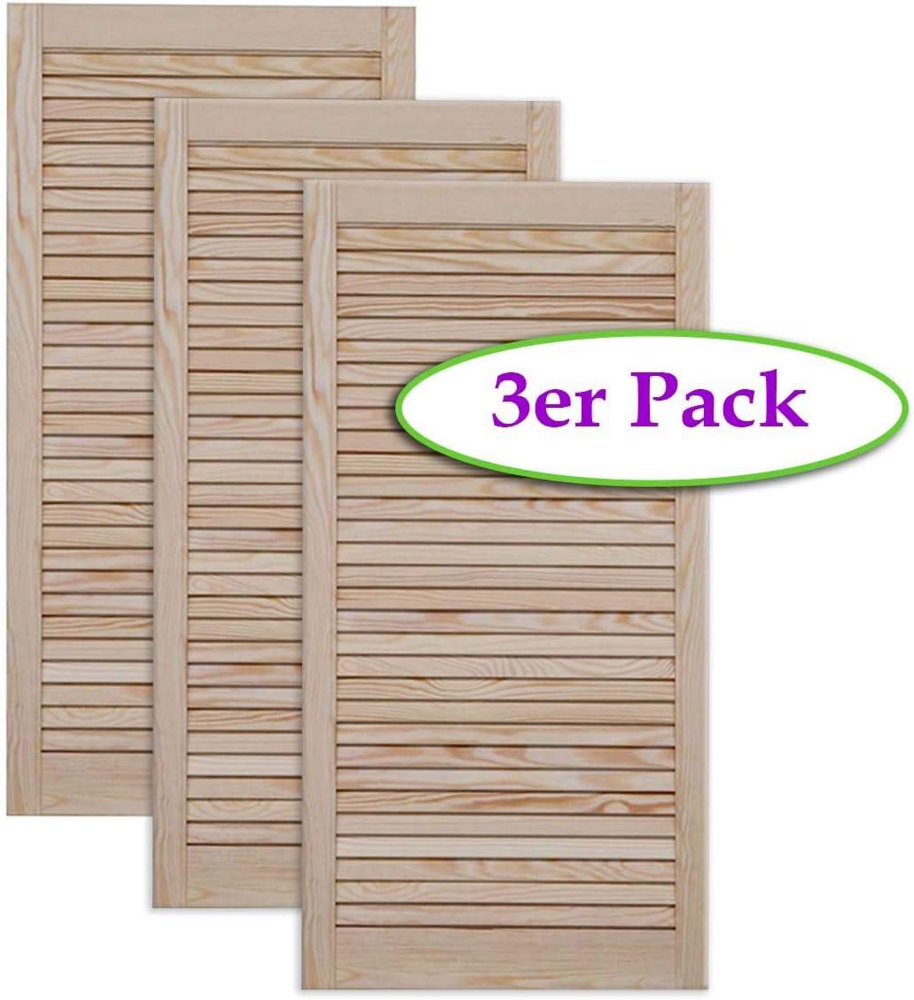 M/öbel Schr/änke Kiefer Holz unbehandelt Vierer Paket 4-er Pack Lamellent/ür Holzt/ür natur 69,0 x 59,4 cm mit offenen Lamellen f/ür Regale