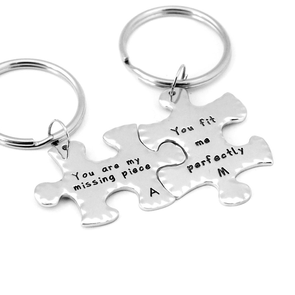 adb01fa6a1484 Amazon.com   Custom Puzzle Piece Keychains Missing Piece Keychains  Personalized Couples Keychain Custom Handmade Keychain Personalized  Valentines Day Gift ...