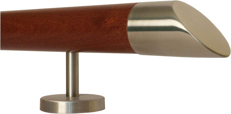 Mahagoni Gel/änder Handlauf Treppe Holz Griff gerade Edelstahlhalter Enden = Edelstahlbogen L/änge 30-500 cm aus einem St/ück//zum Beispiel L/änge 30 cm mit 2 gerade Halter