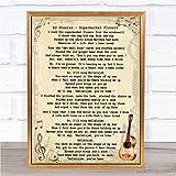 Ed Sheeran Supermarket Flowers Song Lyric Quote Vintage Print