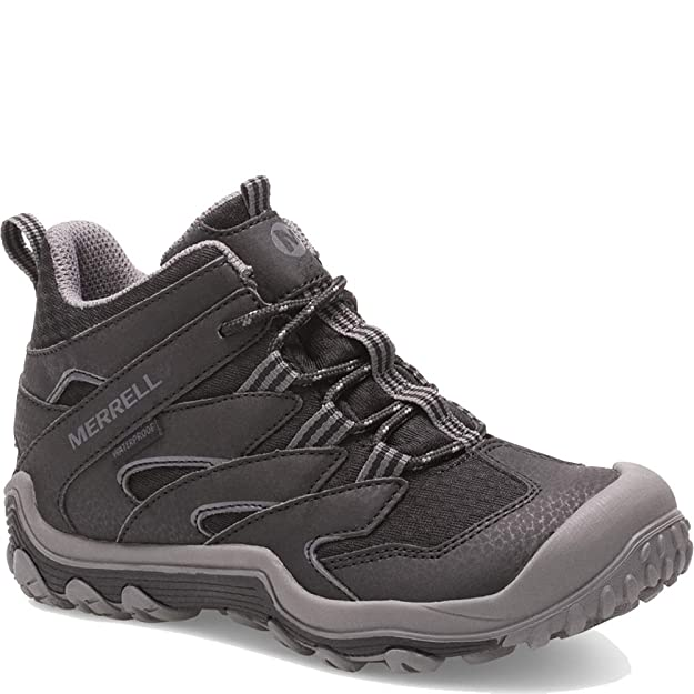 Merrell Kids Boy's Chameleon 7 Access Mid Waterproof (Little Kid/Big Kid) Black 3 M US Little Kid best kids' hiking shoes