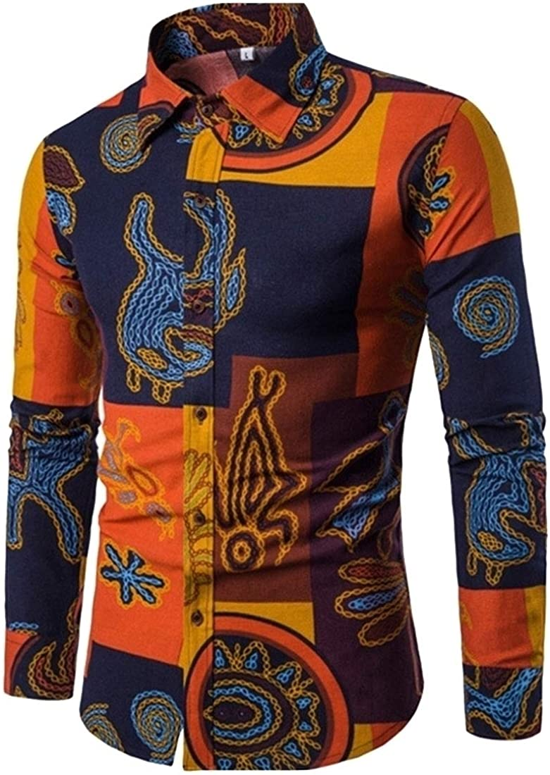 Alion Mens Classic Fit Paisley Long Sleeve Casual Button Down Shirt