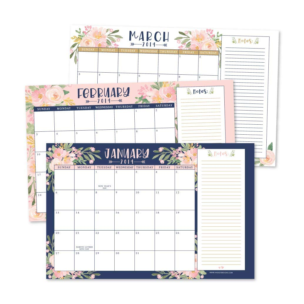 Navy Floral 2019-2020 Large Monthly Desk or Wall Calendar Planner, Big Giant Planning Blotter Pad, 18 Month Academic Desktop, Hanging 2-Year Date Notepad Teacher, Family Home or Business Office 11x17''