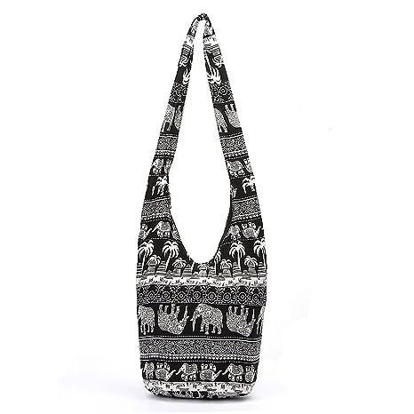 9af6d0ae458996 Women Sling Cross Body Bag Cotton Canvas Hippie Shoulder Bags Slouch Cross  Body Boho Hippy Fringe Purses Ethnic Tote Handbag Travel Bag: Amazon.ca:  Home & ...