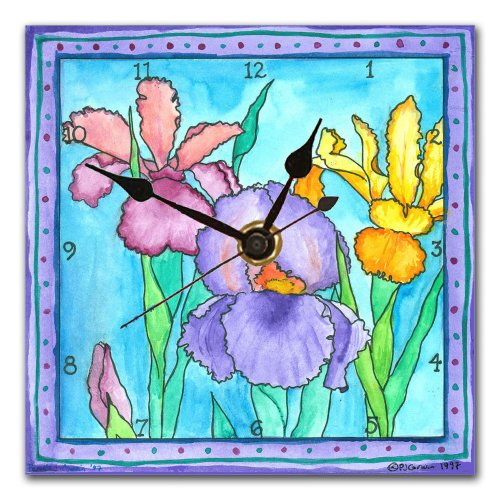 Iris Wall Clock - iris flower wall art - floral wall art decor