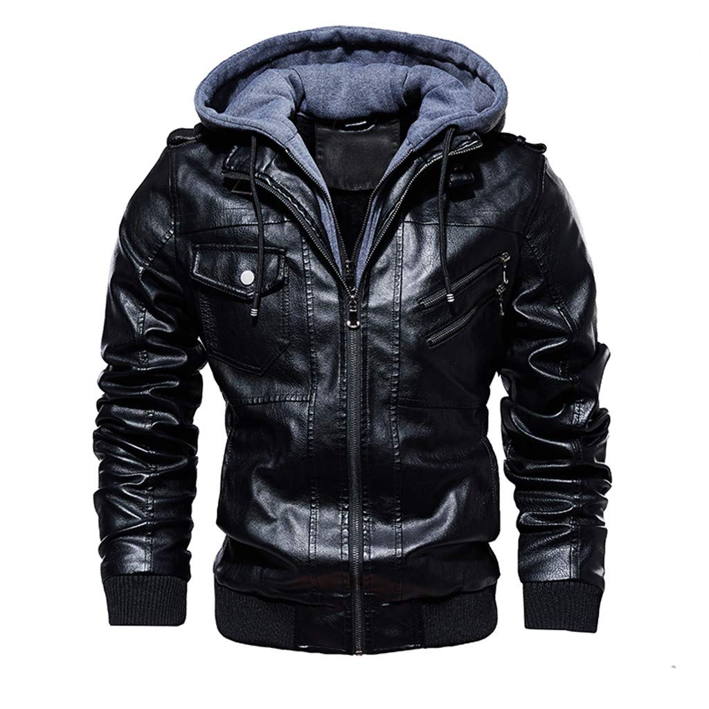 LUCAMORE Men's Faux Leather Motorcycle Jacket with Removable Hood Motorcycle Biker Jacket Outwear Warm Zipper Coat by Luca-Coat