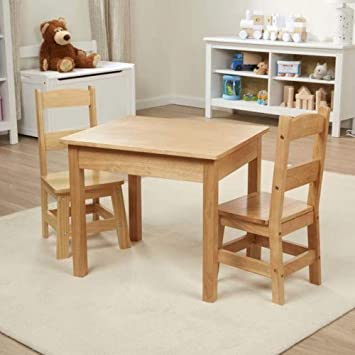Awesome Melissa Doug Solid Wood Table Chairs Kids Furniture Sturdy Wooden Furniture 3 Piece Set 20 H X 23 5 W X 20 5 L Great Gift For Girls And Theyellowbook Wood Chair Design Ideas Theyellowbookinfo