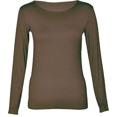 04d2a833fff8a Ladies Womens Long Sleeve Plain Stretch Round Scoop Neck T Shirt Top 8-26   Amazon.co.uk  Clothing