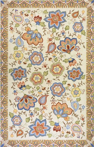 Momeni Rugs SPENCSP-22BGE5080 Spencer Collection, 100% Wool Hand Hooked Traditional Area Rug, 5' x 8', Beige