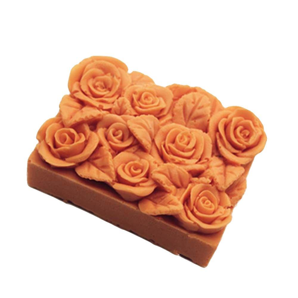 xiangshang shangmao 3D Rose Blume Silikon Seife Kerze Formen Rechteck Soap Mould Loaf Kuchen Werkzeuge
