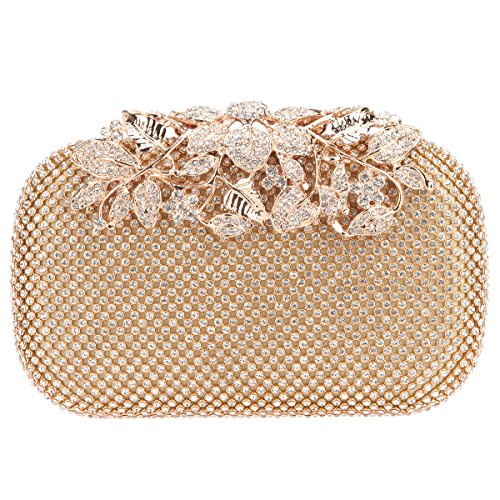 Gold Crystal Bonjanvye With Bags Purses Clutch Evening Rhinestones Flower OP8Pcq7