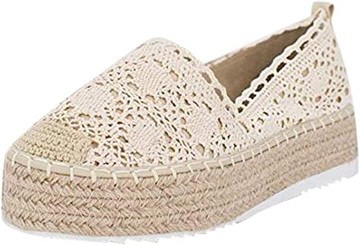 Fashion Women/'s Hollow Platform Casual Shoes Solid Breathable Wedge Espadrilles