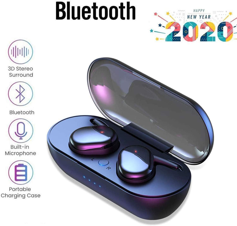 Auriculares inalámbricos Bluetooth 5.0,Control táctil, micrófono Incorporado y Caja de Carga, reducción de Ruido estéreo 3D HD,Apto para Dispositivos con Bluetooth