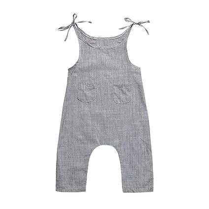 Quistal recién nacido bebé niños niñas ropa de lino sin mangas ...