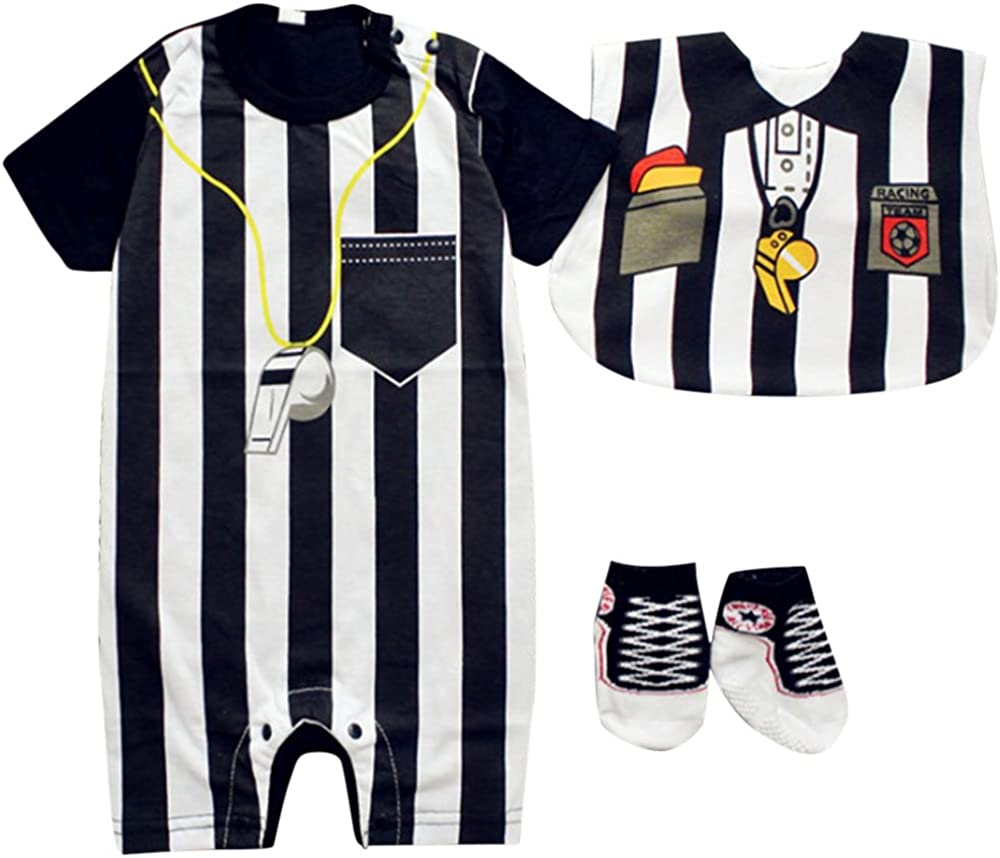 FANCYBABY Baby Toddler Referee Romper Bib Socks Shoe Shirt Outfit Set