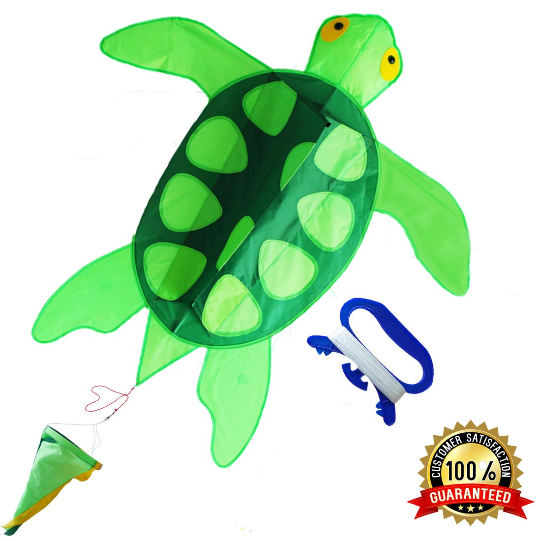 ZHONGRAN Kites Kids Adults- Huge Sea Turtle Kite Easy Flyer Assemble Beginner, Single Line Long Tail, Best Beach/Park Toys /Outdoor Games Boy Girl, Perfect