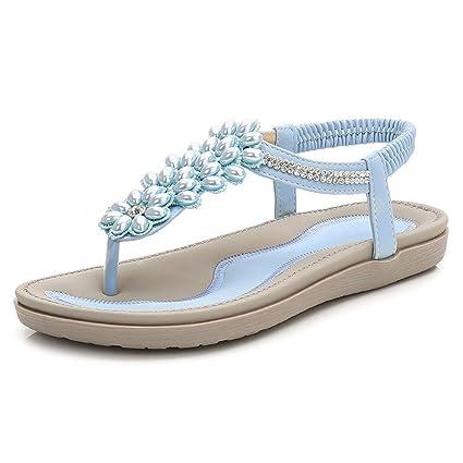 fcf68fd3821e7 Amazon.com  Flat Sandals Bohemia Shoes Woman Rhinestone Flip Flop Crystal  Flower Beach Sandal Casual Shoes Big  Sports   Outdoors