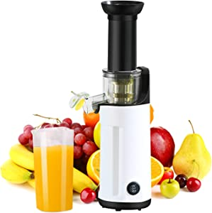 Masticating Juicer, Small Slow Juicer Cold Press Juicer machine With Upgrade Easy Clean Juicer Filter, Higher Juice Yield,120W Motor, Reverse Function,1Juice Cup,1 Brush for Family Daily Use