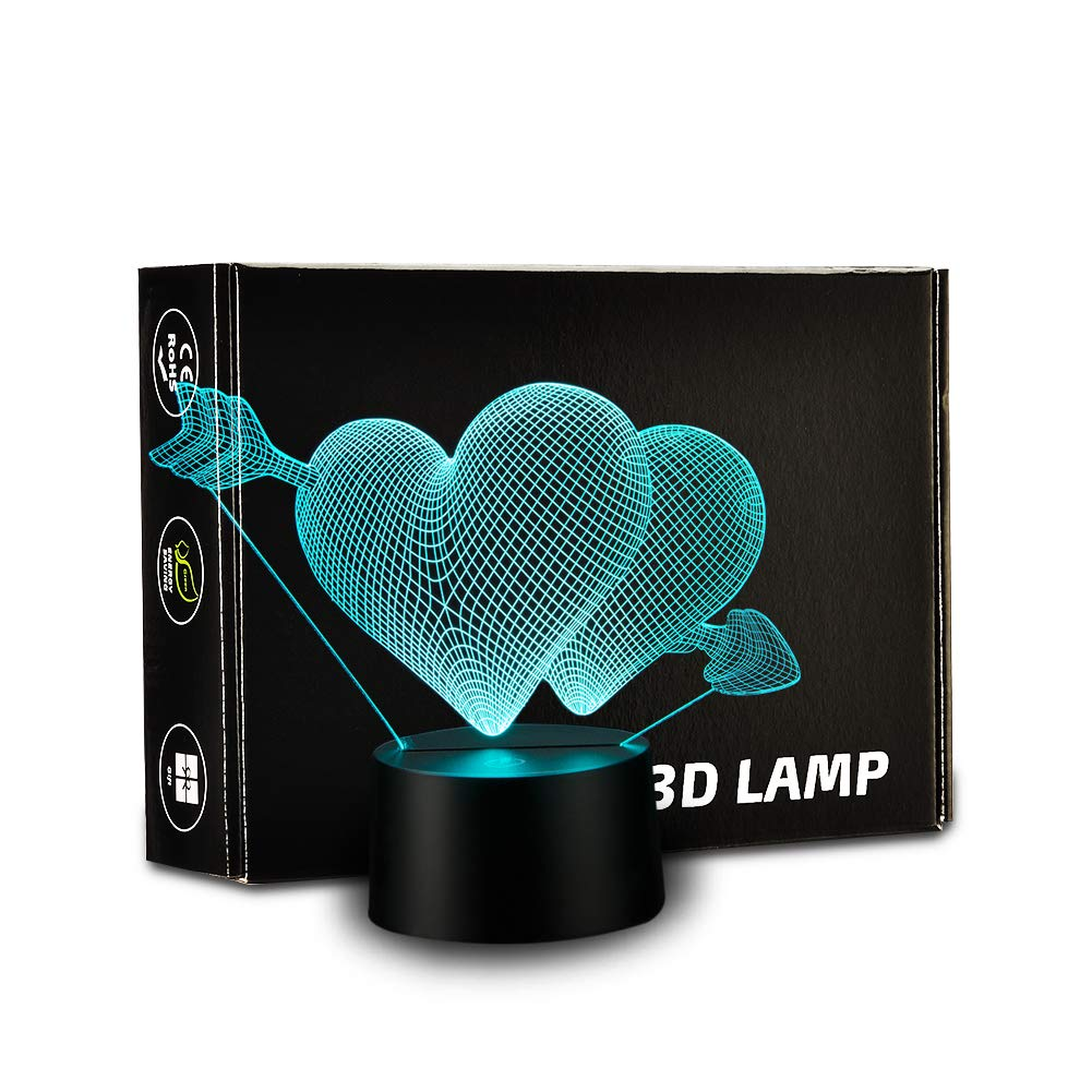 3D Love Lamp Cupid LED Nightlight Touch Switch Table Lamp Colorful Child LED Night Light 7 Color Variation Boy Girl Bedroom Light Birthday Gift Valentine's Day Gift