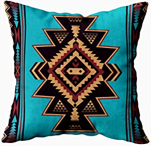 HerysTa Art Pillow Case, Home Decorative Cotton Pillow Covers 18X18inch Invisible Zipper Cushion Cases Geometric Pattern Native American Square Sofa Bed Décor,Brown Black