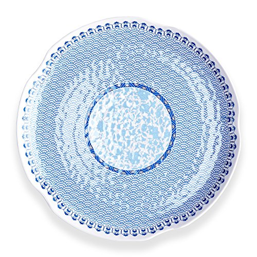 Q Squared Unisex Heritage Round Hammered Small Platter White/Blue