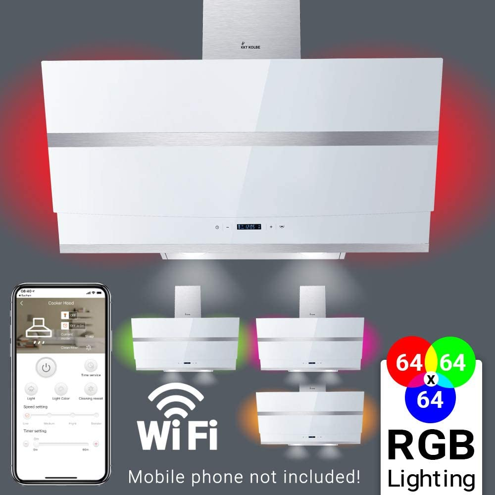 Campana extractora de pared (80cm, acero inoxidable, cristal blanco, WIFI, extra silenciosa, 605m³/h, 4 escalones, iluminación LED RGBW, teclas sensoriales TouchSelect) HERMES807WM - KKT KOLBE